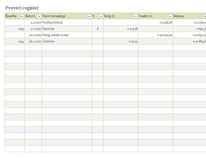 Preveri register