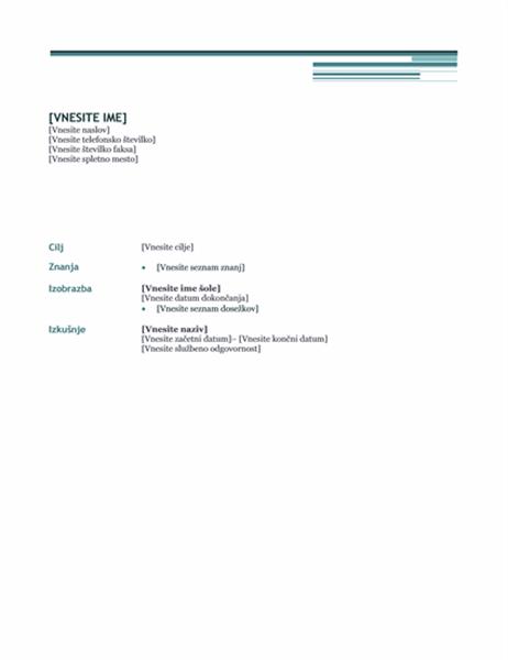 Življenjepis (načrt Urbano)