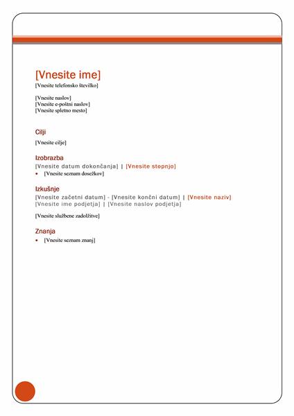 Življenjepis (načrt Poslovni izid)