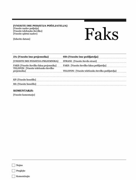 Naslovnica faksa (načrt Urbano)