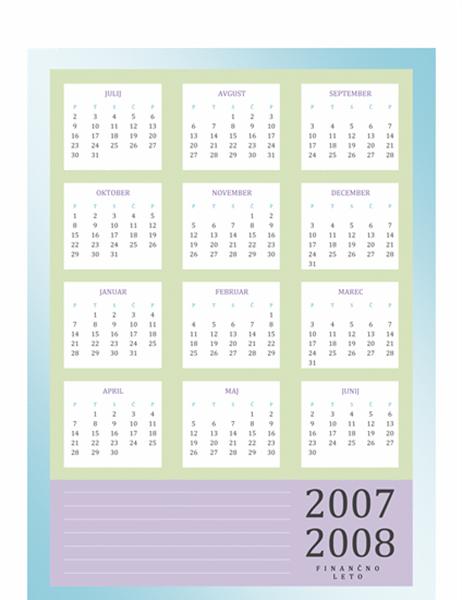 Koledar za finančno leto 2007–2008 (pon–pet)
