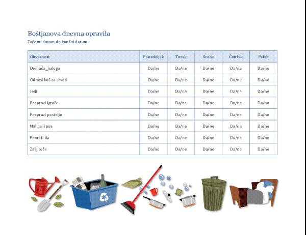 Kontrolni seznam za gospodinjska opravila za otroka