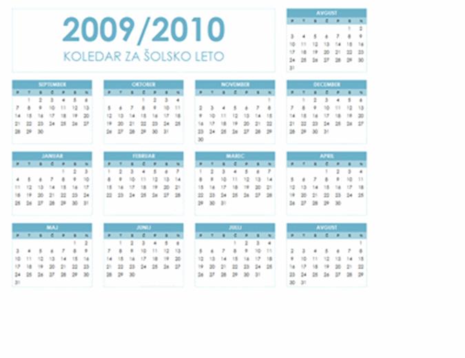 Koledar za šolsko leto 2009/2010 (1 stran, ležeče, ponedeljek–nedelja)