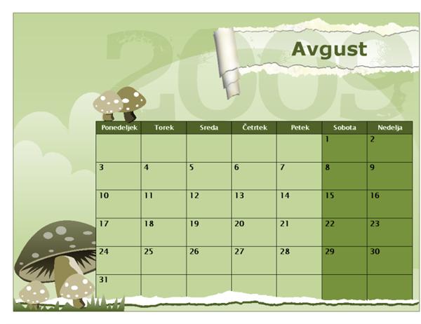 Koledar za šolsko leto 2009/2010 (avgust–avgust, ponedeljek–nedelja)