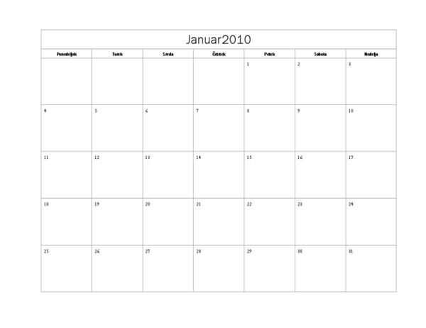 Koledar 2010 (osnovna oblika, ponedeljek-nedelja)