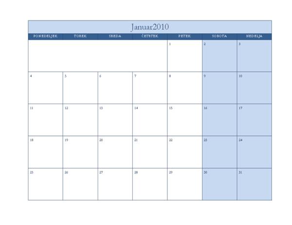 Koledar 2010 (klasična modra oblika, ponedeljek-nedelja)