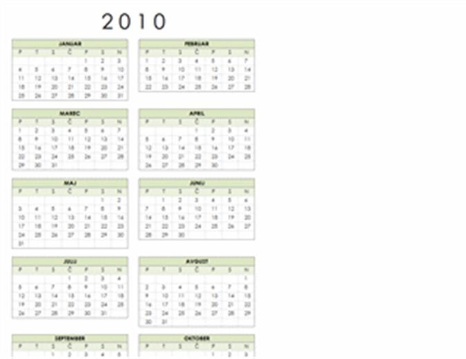 Koledar 2010 (1 stran, pokončno, pon-ned)