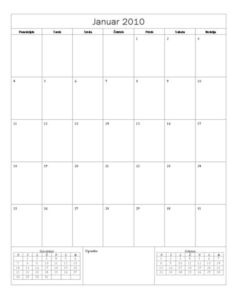 Koledar za leto 2010 (osnovna oblika, ponedeljek-nedelja)