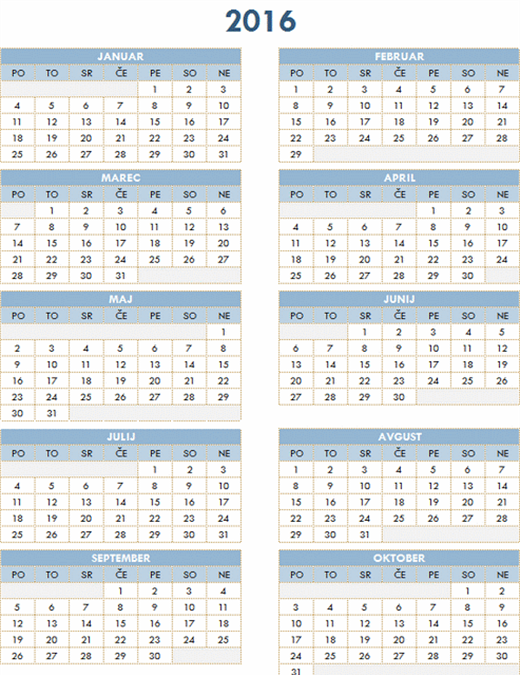 Letni koledar 2016–2025