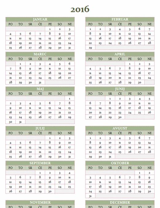 Letni koledar za obdobje 2016–2025 (pon.–ned.)