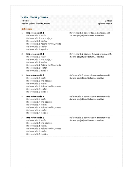 Seznam referenc za funkcionalen življenjepis