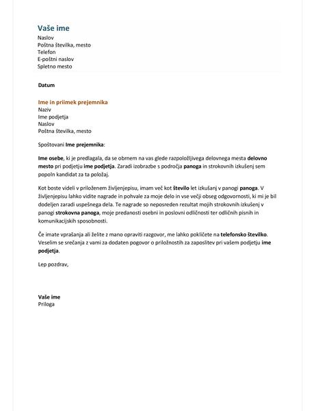 Spremno pismo formalnega življenjepisa
