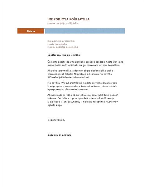 Poslovno pismo (tema – sredinsko)