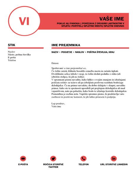 Sijajno spremno pismo, zasnovano v podjetju MOO