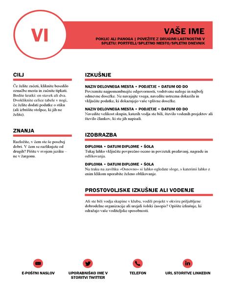 Sijajen življenjepis, zasnovan v podjetju MOO