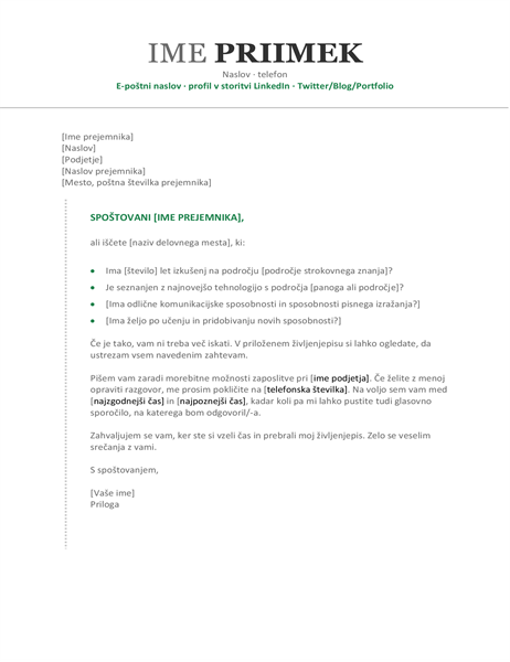 Spremno pismo za življenjepis (kronološko)