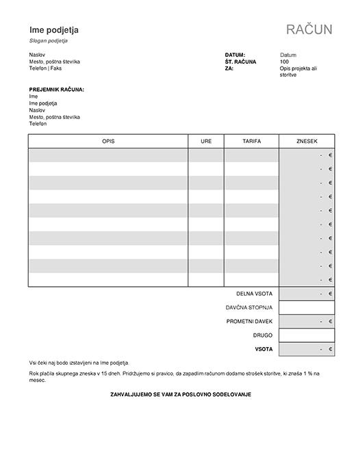 Račun storitve z izračunom davka
