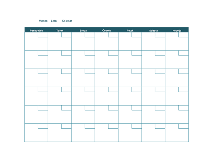 Prazen mesečni koledar