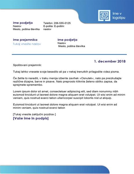 Poslovno pismo (modra obroba in dvobarvno prehajanje)
