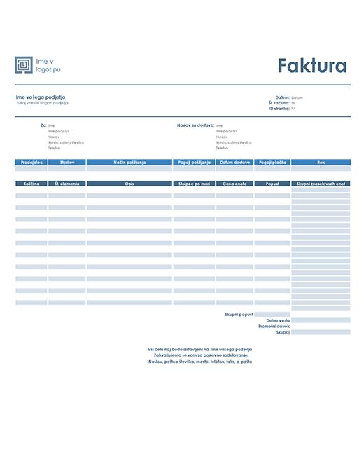 Prodajni račun (načrt Preprosto)