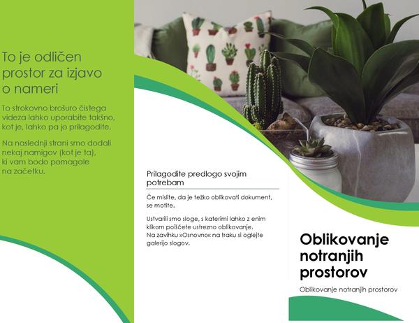 Brošura z motivom s področja notranjega oblikovanja