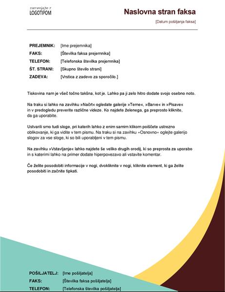 Naslovnica faksa z oblikovanjem v zemeljskih odtenkih