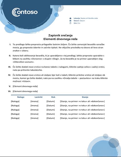 Zapiski s srečanja z motivom modrih krogel