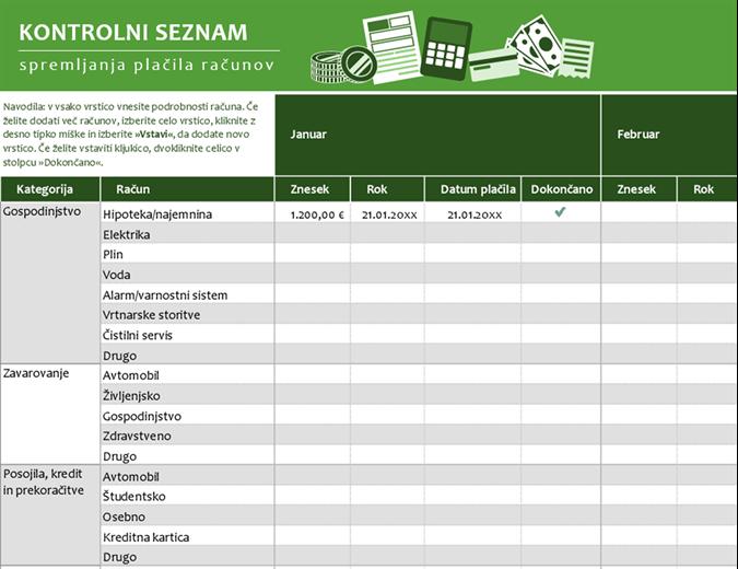 Kontrolni seznam spremljanja plačila računov