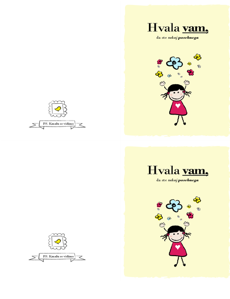 Zahvalna kartica z motivom majhne deklice