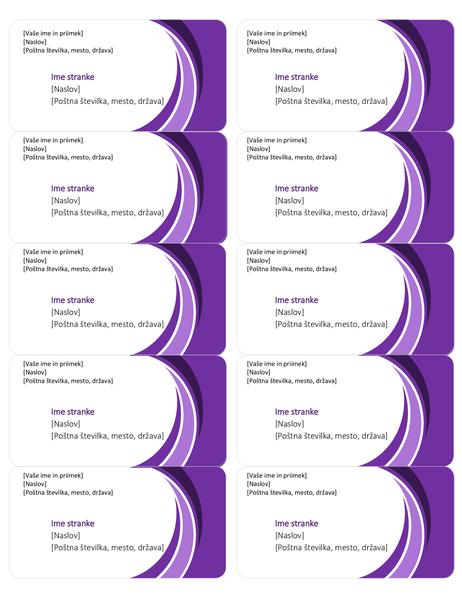 Nalepke za dostavo z vijoličnim motivom (10 na stran)