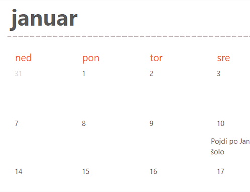 Zavihki zimzelenega koledarja (bela)