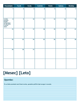 Enomesečni šolski koledar (prvi dan je ponedeljek)