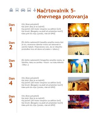 5-dnevni načrtovalnik potovanja