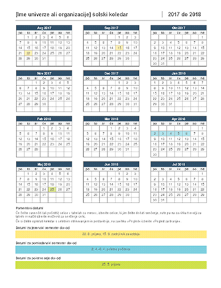 Šolski koledar 2017–2018