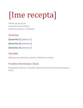 Preprosta knjižica receptov