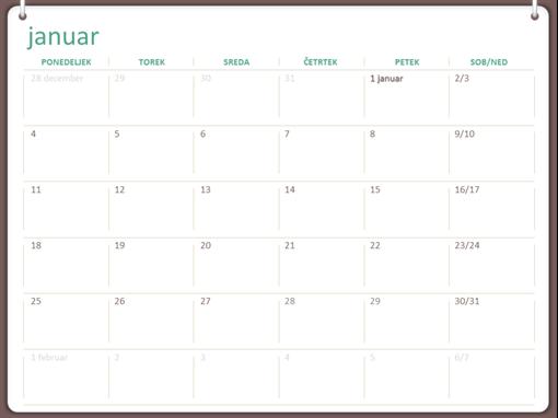 Klasični stenski koledar (pon.–ned., zasnova z dvema obročema)
