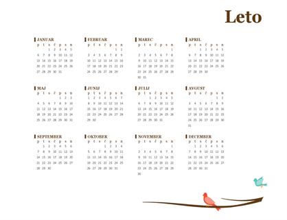 Letni koledar za leto 2018 (pon–ned)