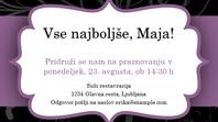 Povabilo na zabavo (zasnova s purpurnim trakom)