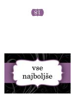 Voščilnica za rojstni dan (predloga z vijoličnim trakom, polovični pregib)