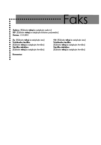 Naslovnica osebnega faksa