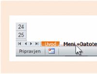 OneNote 2010: Delovni zvezek, v katerem so navedena mesta starih menijskih ukazov na traku