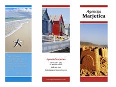 Tridelna potovalna brošura (rdeče, zlate in modre oblike)