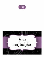Voščilnica za rojstni dan (zasnova z vijoličnim trakom)