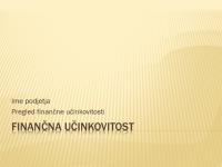 Predstavitev finančne učinkovitosti