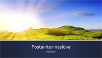 Predstavitev z modrimi pasovi narave s fotografijo sončnega vzhoda v gorah (širokozaslonsko)