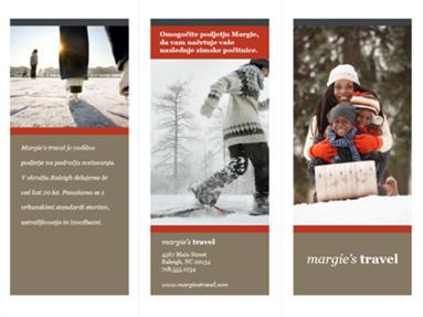 Tridelna potovalna brošura (rdeč in siv načrt)