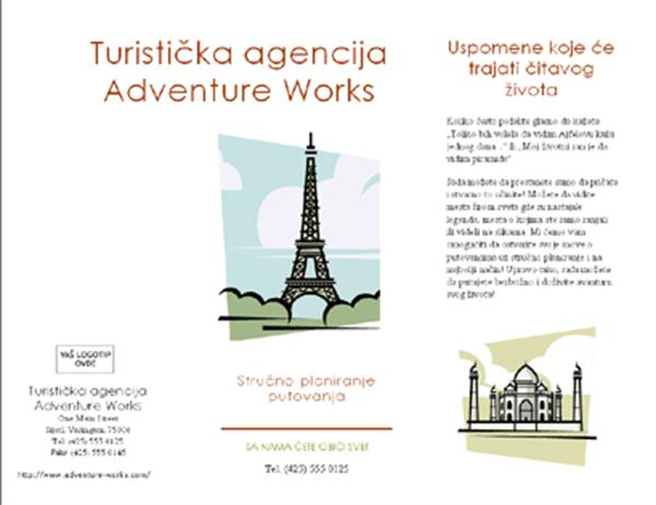 Brošura za putovanja (8 1/2 x 14, položeno, 4 lista)