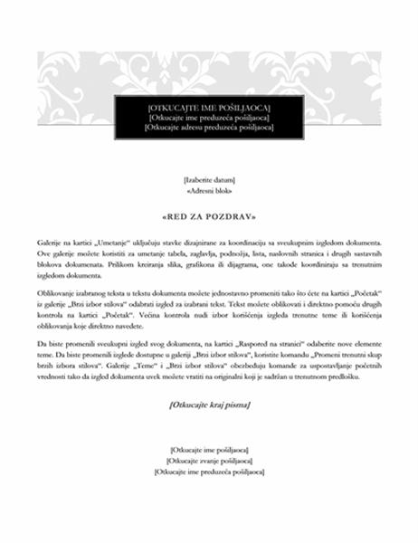 Pismo objedinjavanja pošte (Black Tie dizajn)