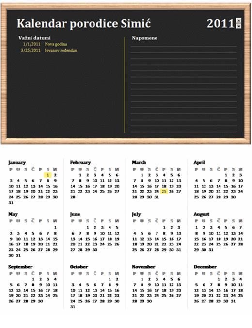 Porodični kalendar (za bilo koju godinu, od ponedeljka do nedelje)