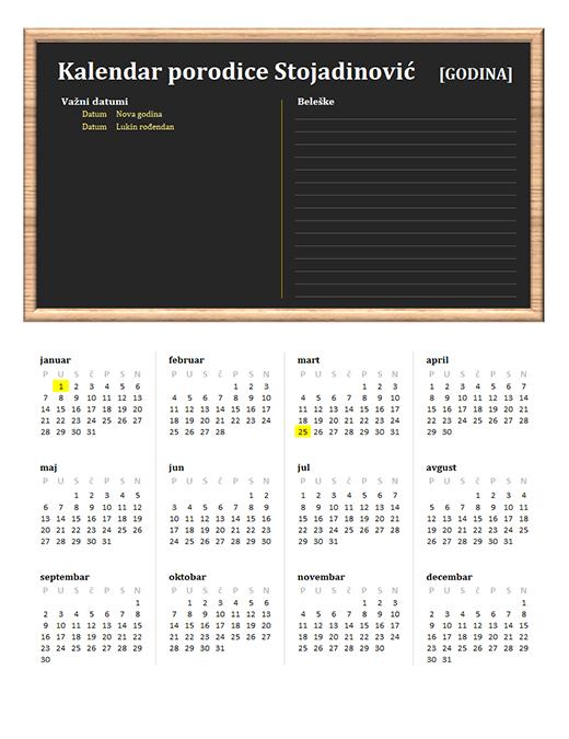 Porodični kalendar (bilo koja godina, poned–ned)